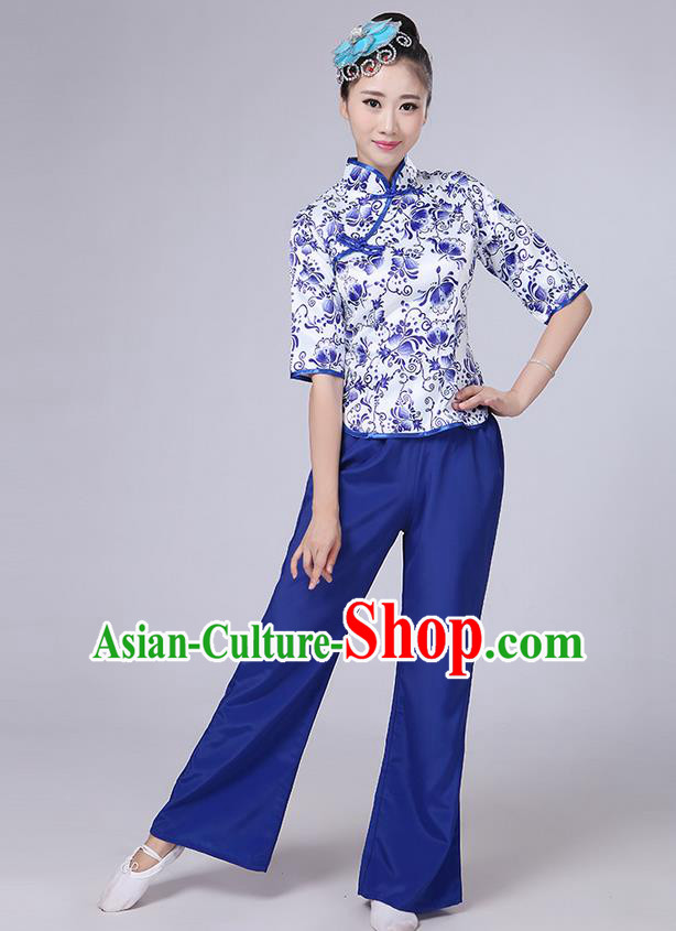 Traditional Chinese Yangge Fan Dancing Costume, Folk Dance Yangko Mandarin Collar Blue and White Porcelain Blouse and Pants Uniforms, Classic Dance Elegant Dress Drum Dance Blue Clothing for Women