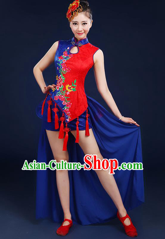 Traditional Chinese Yangge Fan Dancing Costume, Folk Dance Yangko Mandarin Collar Embroidered Peony Tassel Uniforms, Classic Dance Elegant Dress Drum Dance Clothing for Women
