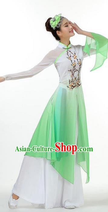 Traditional Chinese Yangge Fan Dancing Costume, Folk Dance Yangko Mandarin Sleeve Painting Plum Blossom Uniforms, Classic Dance Elegant Big Swing Dress Drum Dance Green Clothing for Women