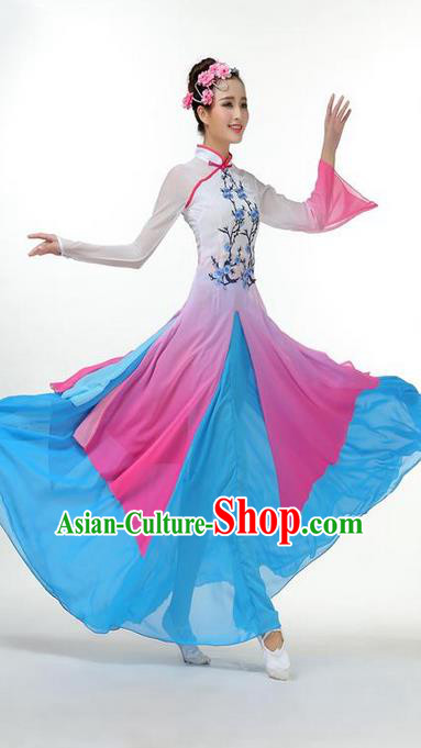 Traditional Chinese Yangge Fan Dancing Costume, Folk Dance Yangko Mandarin Collar Plum Blossom Painting Uniforms, Classic Dance Elegant Big Swing Dress Drum Dance Pink Clothing for Women