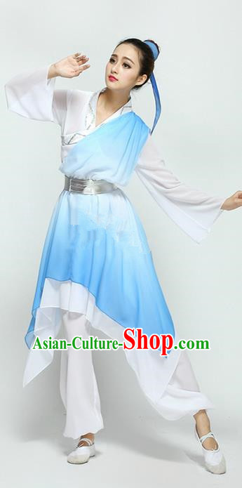 Traditional Chinese Ancient Yangge Fan Dancing Costume, Folk Dance Long Water Sleeve Uniforms, Tang Dynasty Classic Dance Elegant Dress Palace Lady Dance Clothing for Women