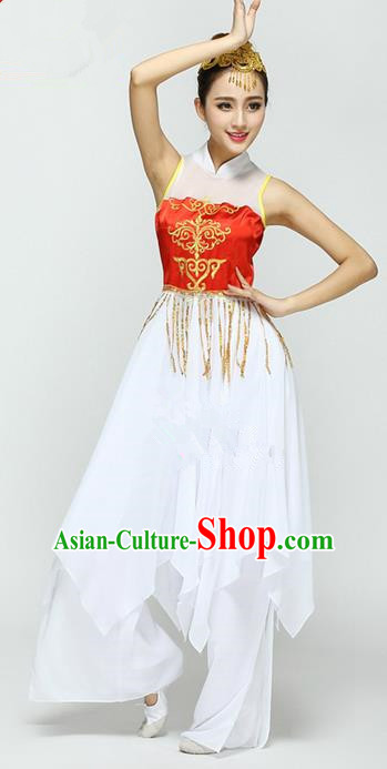 Traditional Chinese Ancient Yangge Fan Dancing Costume, Folk Dance Uniforms, Classic Dance Elegant Dress Drum Dance Clothing for Women