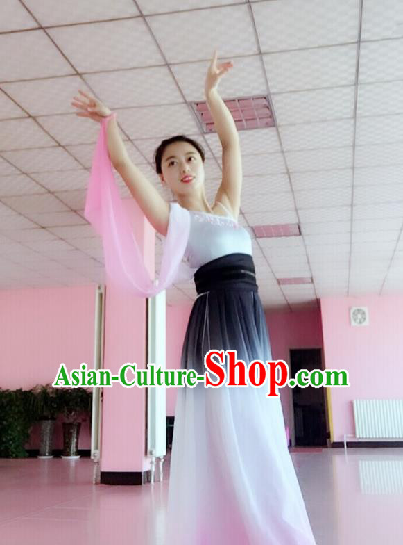 Traditional Chinese Yangge Fan Dancing Costume, Folk Dance Yangko Mandarin Sleeve Ink Painting Uniforms, Classic Umbrella Dance Elegant Big Swing Dress Drum Dance Pink Clothing for Women