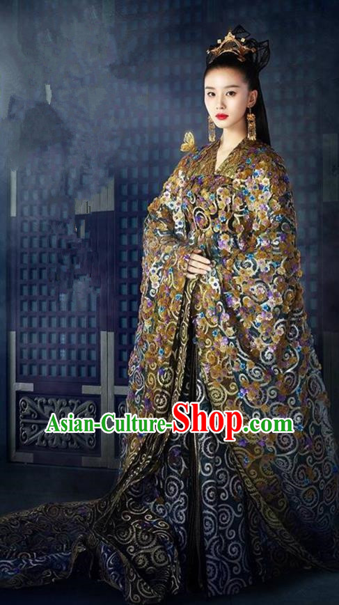 Traditional Ancient Chinese Imperial Empress Costume, Elegant Hanfu Western Wei Dynasty Clothing, Chinese Northern Dynasties Imperial Queen Embroidered Tailing Clothing for Women