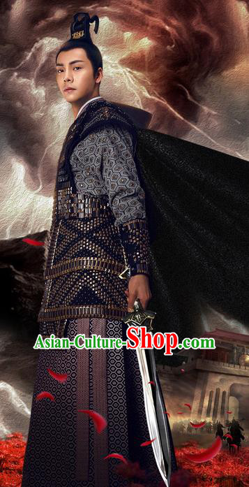 Traditional Ancient Chinese Nobility Childe Costume, Elegant Hanfu Western Wei Dynasty Prince Swordsman Corselet General Clothing, Chinese Northern Dynasties Aristocratic Strategos Armour Clothing for Men