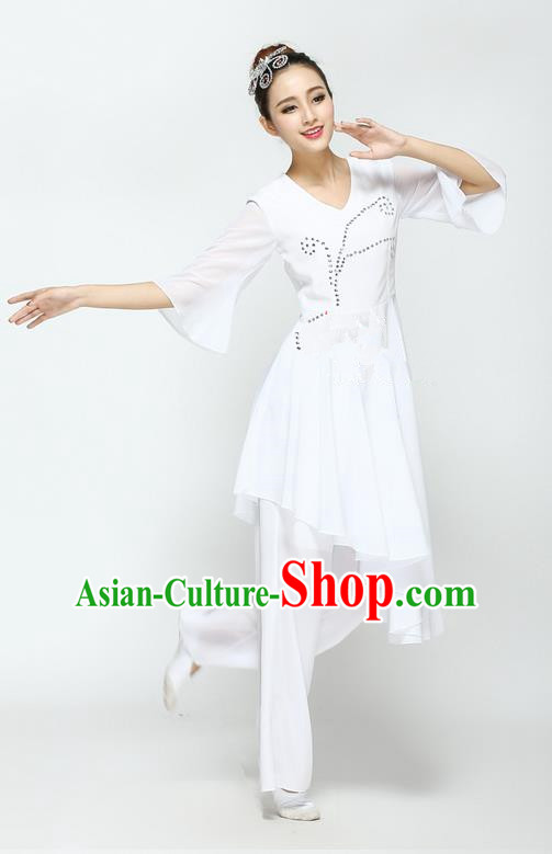 Traditional Modern Dancing Compere Costume, Women Opening Classic Chorus Singing Group Dance Dress, Modern Dance Classic Ballet Dance White Paillette Dress for Women