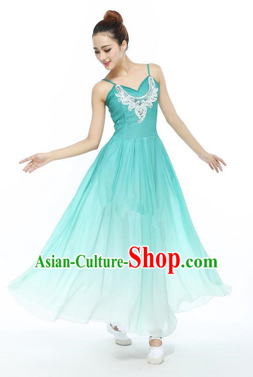 Traditional Modern Dancing Compere Costume, Women Opening Classic Chorus Singing Group Dance Dress, Modern Dance Classic Ballet Dance Blue Crystal Dress for Women