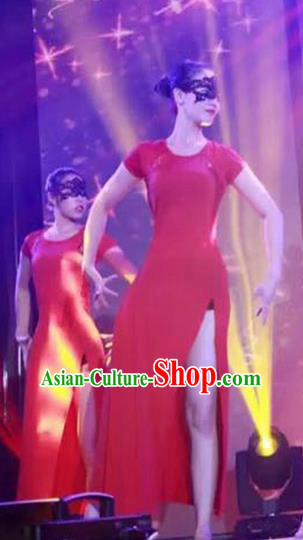 Traditional Modern Dancing Compere Costume, Women Opening Classic Chorus Singing Group Dance Dress, Modern Dance Classic Ballet Dance Red Lace Dress for Women