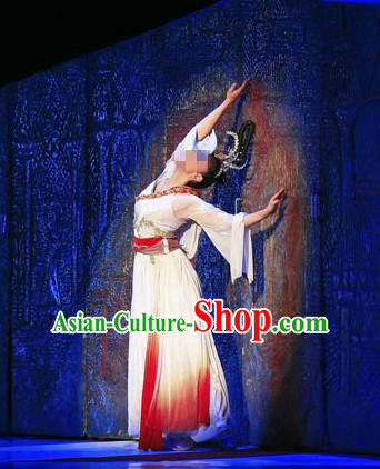 Traditional Chinese Ancient Yangge Fan Dancing Costume, Folk Dance Long Wide Sleeve Uniforms, Classic Tang Dynasty Flying Dance Elegant Fairy Dress Drum Palace Lady Dance Clothing for Women