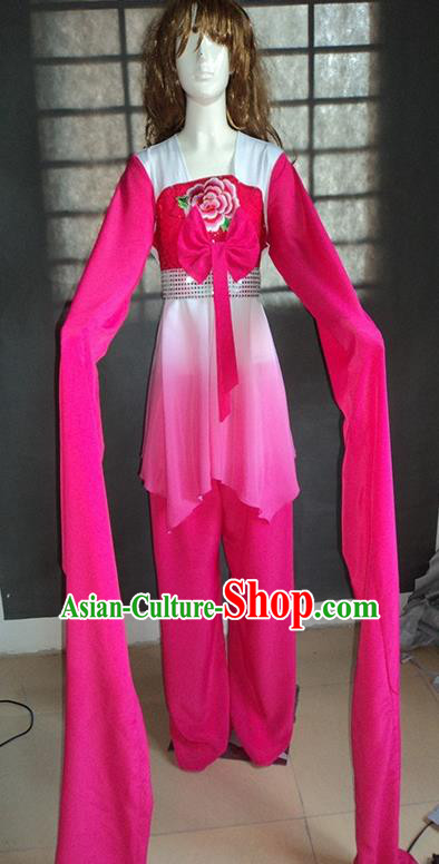 Traditional Chinese Ancient Yangge Fan Dancing Costume, Folk Dance Water Sleeve Uniforms, Classic Tang Dynasty Flying Dance Elegant Fairy Dress Drum Palace Dance Rose Clothing for Women