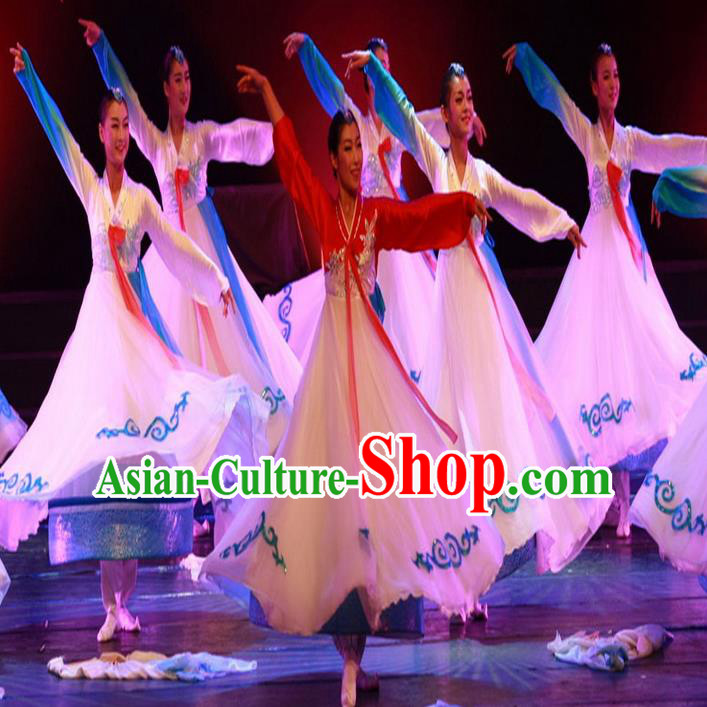Traditional Chinese Korean Nationality Dancing Costume, Folk Dance Ethnic Koreans Dress Palace Princess Uniform, Chinese Koreans Minority Nationality Dancing Clothing for Women
