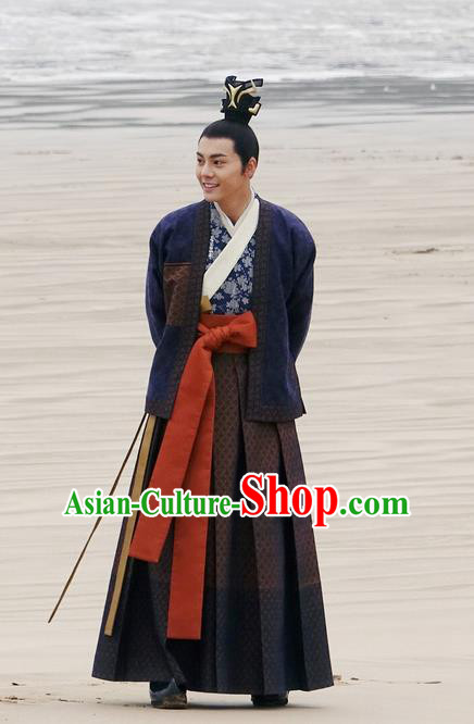 Traditional Ancient Chinese Nobility Childe Costume, Elegant Hanfu Western Wei Dynasty Swordsman Clothing, Chinese Northern Dynasties Prince Clothing for Men