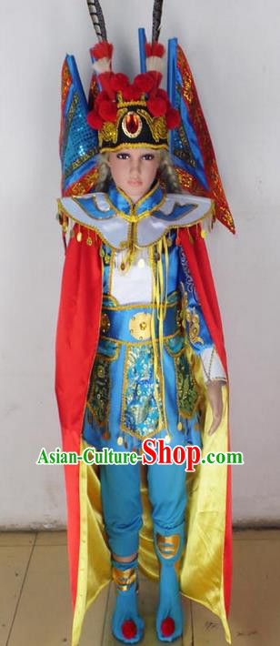 Traditional Chinese Peking Opera KnifeHorseDawn Costume and Hat Complete Set, Chinese Swordsman Children Uniforms, Classic Dance Elegant Dress Drum Dance Blue Clothing for Kids