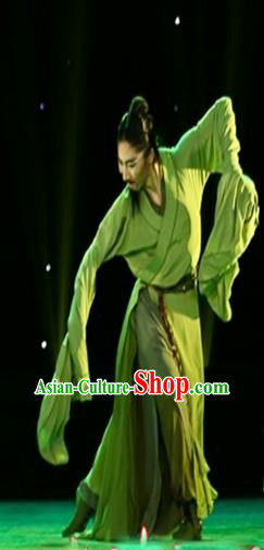 Traditional Chinese Ancient Yangge Fan Dancing Costume, Folk Dance Water Sleeve Uniforms, Classic Tang Dynasty Male Dance Elegant Dress Drum Palace Dance Green Clothing for Men