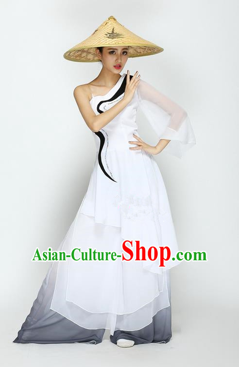 Traditional Chinese Classical Bamboo Hat Dancing Costume, Folk Dance Uniforms, Classic Straw Hat Dance Dress Elegant Drum Dance Clothing for Women