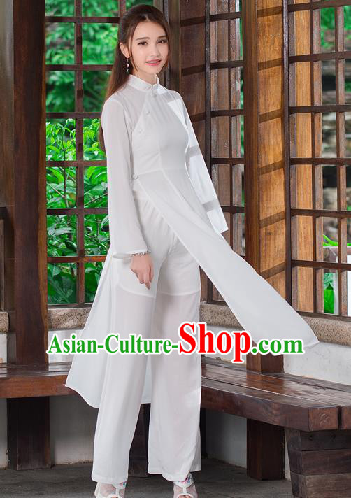 Traditional Ancient Chinese National Costume, Elegant Hanfu Dress and Pants Complete Set, China Tang Suit Mandarin Collar Blouse Cheongsam Upper Outer Garment Clothing for Women