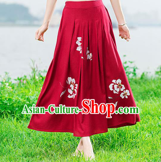 Traditional Ancient Chinese National Skirt Costume, Elegant Hanfu Painting Peony Long Dress, China Tang Suit Cotton Red Bust Skirt for Women
