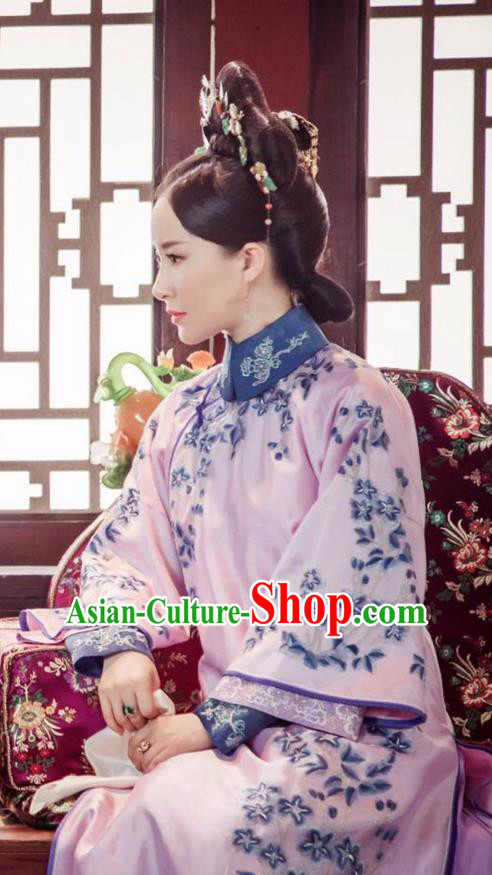 Traditional Ancient Chinese Imperial Consort Costume, Chinese Qing Dynasty Manchu Palace Lady Dress, Chinese Legend of Dragon Ball Mandarin Fermale Robes, Imperial Concubine Embroidered Clothing for Women