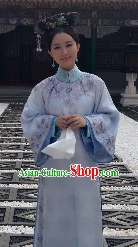 Traditional Ancient Chinese Imperial Princess Costume, Chinese Qing Dynasty Manchu Palace Lady Dress, Chinese Legend of Dragon Ball Mandarin Fermale Robes, Ancient China Imperial Concubine Embroidered Clothing for Women