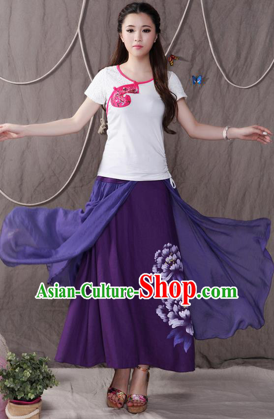 Traditional Ancient Chinese National Pleated Skirt Costume, Elegant Hanfu Printing Peony Big Swing Long Dress, China Tang Suit Cotton Purple Bust Skirt for Women