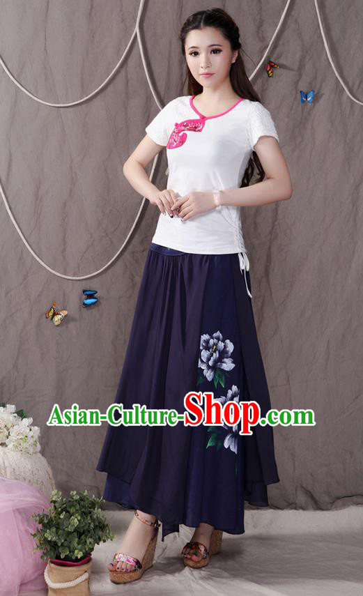 Traditional Ancient Chinese National Pleated Skirt Costume, Elegant Hanfu Printing Peony Big Swing Long Dress, China Tang Suit Cotton Navy Bust Skirt for Women