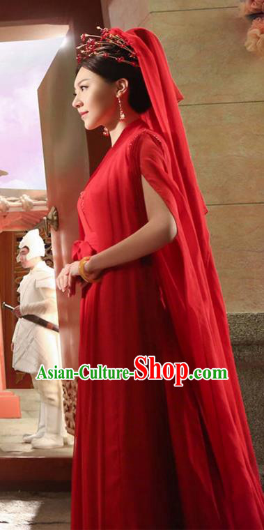 Traditional Ancient Chinese Elegant Wedding Costume, Chinese Han Dynasty Bride Red Dress, Cosplay Ten Great III of Peach Blossom Fairy Chinese Peri Hanfu Clothing for Women