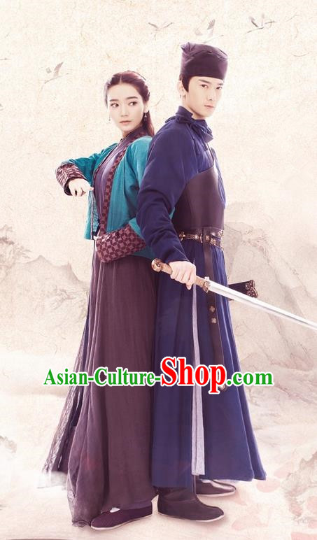 Traditional Chinese Ancient Swordsman Costume Complete Set, Elegant Hanfu Heroes Couple Dress, China Han Dynasty Knight Clothing for Women for Men