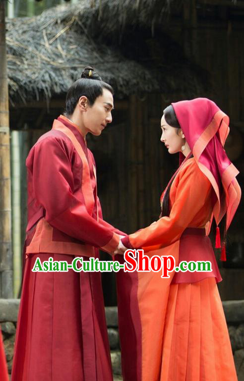 Traditional Chinese Ancient Wedding Costume Complete Set, Elegant Hanfu Bride and Bridegroom Couple Red Dress, China Han Dynasty Married Tailing Embroidered Clothing for Women for Men
