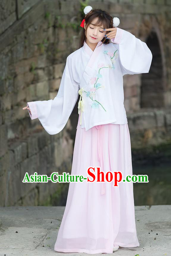 Traditional Chinese Ancient Costume, Elegant Hanfu Clothing Embroidered Wide Sleeve Blouse and Dress, China Ming Dynasty Elegant Pink Blouse and Skirt Complete Set for Women