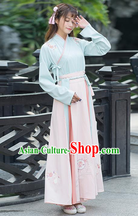 Traditional Chinese Ancient Costume, Elegant Hanfu Clothing Embroidered Slant Opening Blouse and Dress, China Ming Dynasty Elegant Blouse and Skirt Complete Set for Women
