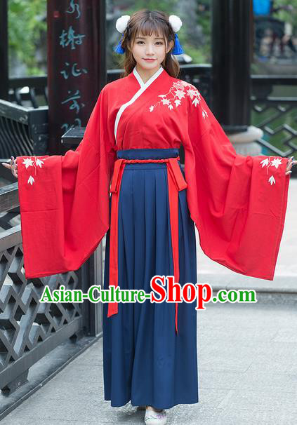 Traditional Ancient Chinese Costume, Elegant Hanfu Clothing Embroidered Maple Leaf Wide Sleeve Blouse and Dress, China Ming Dynasty Elegant Red Blouse and Skirt Complete Set for Women