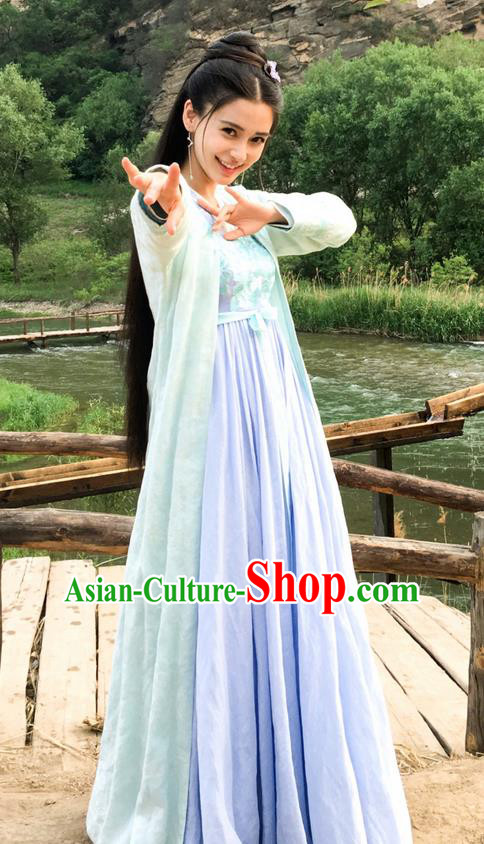 Traditional Ancient Chinese Elegant Female Swordsman Costume, Chinese Warring States Period Dynasty Imperial Princess Fairy Dress, Cosplay Princess Chinese Nobility Hanfu Embroidered Clothing for Women
