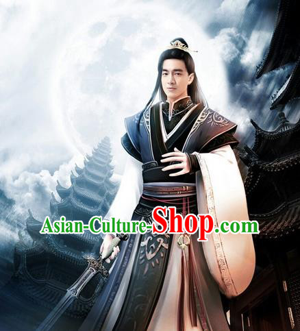 Traditional Ancient Chinese Elegant Swordsman Costume, Chinese Western Wei Dynasty Jiang Hu Swordsman Robe, Cosplay Princess Agents  Nobility Childe Chinese Kawaler Hanfu Clothing for Men
