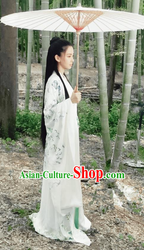 Traditional Ancient Chinese Elegant Female Swordsman Costume, Chinese Warring States Period Dynasty Fairy Dress, Cosplay Princess Chinese Nobility Hanfu Trailing Embroidered Clothing for Women