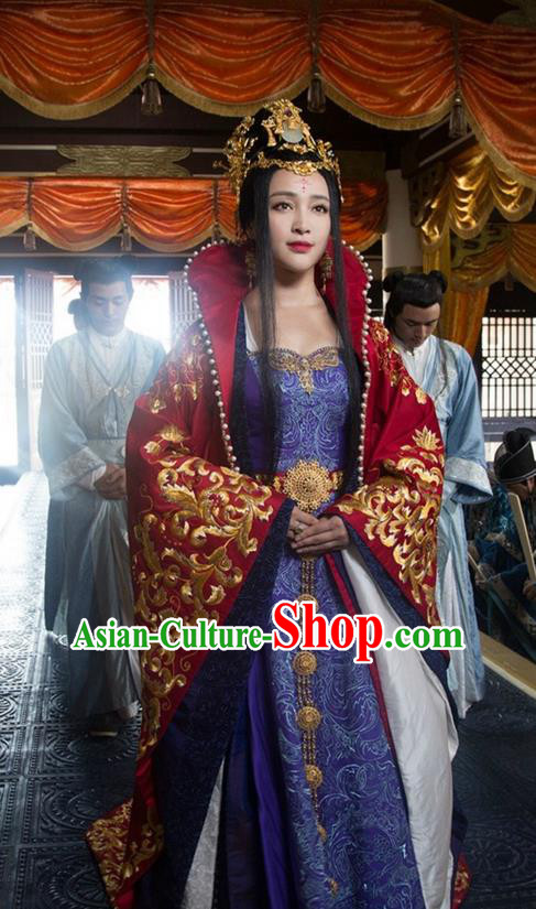 Traditional Ancient Chinese Imperial Concubine Wedding Costume, Chinese Warring States Period Imperial Empress Elegant Dress, Cosplay Imperial Consort Chinese Nobility Hanfu Tailing Embroidered Clothing for Women