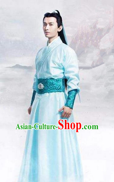 Traditional Ancient Chinese Swordsman Costume, Chinese Han Dynasty Jiang Hu Swordsman Robe, Cosplay Imperial Prince Chinese Bladesman Hanfu Clothing for Men