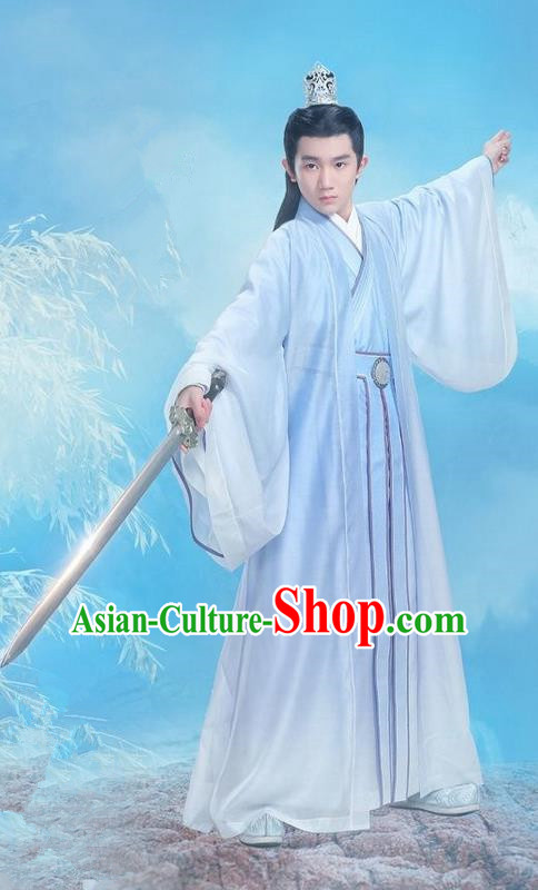 Traditional Ancient Chinese Elegant Swordsman Costume, Chinese Han Dynasty Jiang Hu Swordsman Robe, Cosplay Prince Nobility Childe Chinese Bladesman Hanfu Clothing for Men