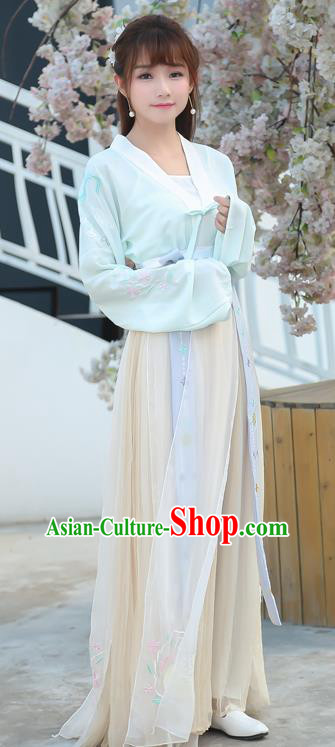 Traditional Ancient Chinese Costume, Elegant Hanfu Clothing Embroidered Slant Opening Blouse and Dress, China Ming Dynasty Young Lady Elegant Cardigan Blouse and Skirt Complete Set for Women