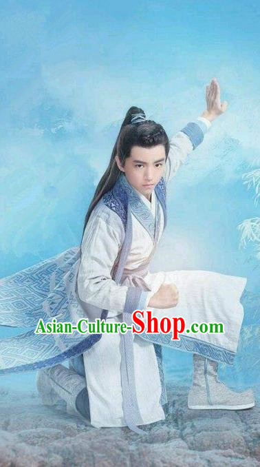 Traditional Ancient Chinese Swordsman Costume, Chinese Han Dynasty Jiang Hu Swordsman Dandies Robe, Cosplay Prince Young Childe Chinese Bladesman Hanfu Clothing for Men
