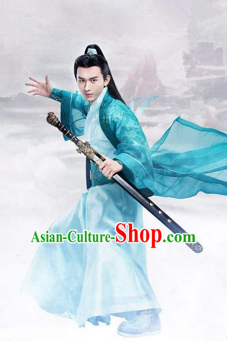 Traditional Ancient Chinese Swordsman Costume, Chinese Han Dynasty Jiang Hu Swordsman Robe, Cosplay China Young Childe Chinese Bladesman Hanfu Clothing for Men