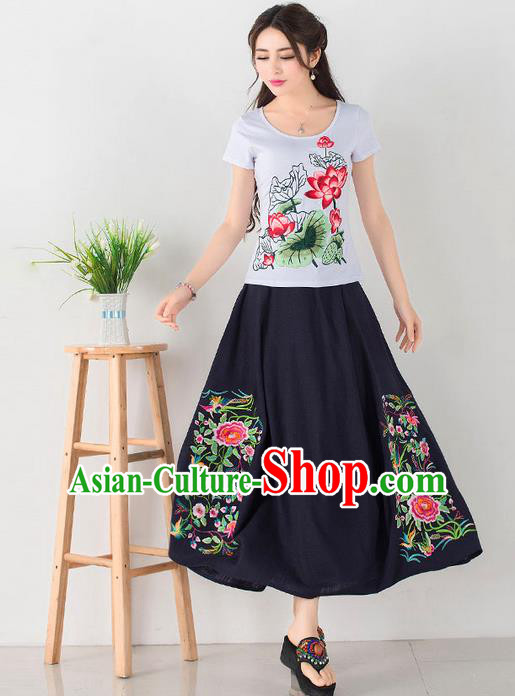 Traditional Ancient Chinese National Pleated Skirt Costume, Elegant Hanfu Embroidery Flowers Long Navy Skirt, China Tang Dynasty Bust Skirt for Women