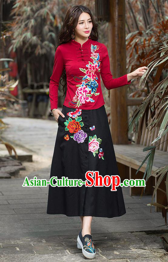 Traditional Ancient Chinese National Pleated Skirt Costume, Elegant Hanfu Embroidery Peony Flowers Long Black Skirt, China Tang Suit Bust Skirt for Women