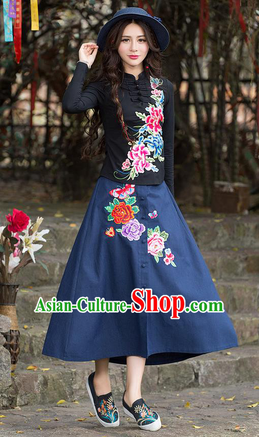 Traditional Ancient Chinese National Pleated Skirt Costume, Elegant Hanfu Embroidery Peony Flowers Long Blue Skirt, China Tang Suit Bust Skirt for Women