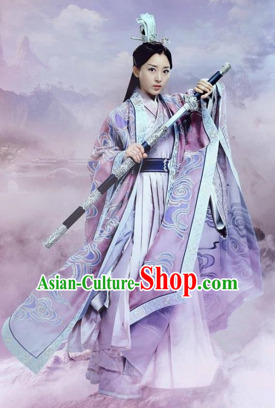 Traditional Ancient Chinese Elegant Swordsman Costume, Chinese Han Dynasty Taoist Nun Kung fu Master Dress, Cosplay Chinese Television Drama Jade Dynasty Qing Yun Faction Peri Hanfu Trailing Embroidery Clothing for Women