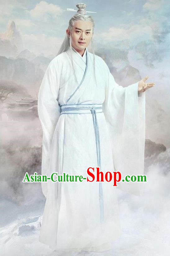 Traditional Ancient Chinese Elegant Swordsman Costume, Chinese Han Dynasty Taoist Priest Robes Kung fu Master White Dress, Cosplay Chinese Television Drama Jade Dynasty Qing Yun Faction Owners Hanfu Clothing for Men