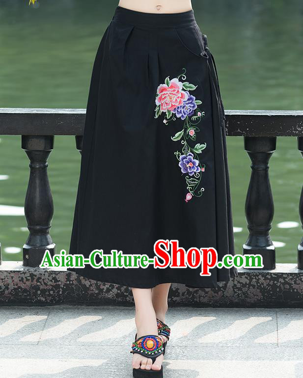 Traditional Ancient Chinese National Pleated Skirt Costume, Elegant Hanfu Embroidery Peony Flowers Long Black Linen Skirt, China Tang Suit Bust Skirt for Women