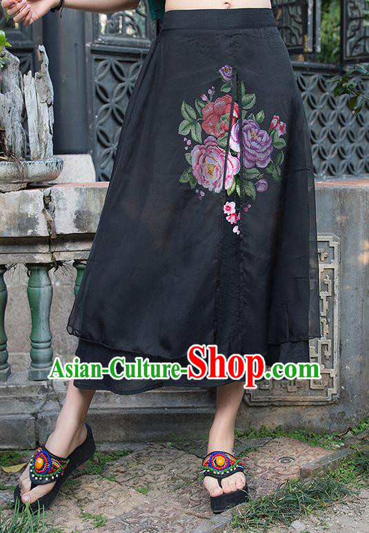 Traditional Ancient Chinese National Pleated Skirt Costume, Elegant Hanfu Embroidery Peony Flowers Double-deck Long Black Skirt, China Tang Suit Bust Skirt for Women