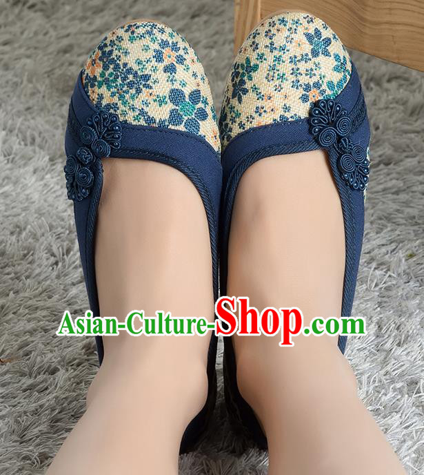Traditional Chinese Shoes, China Handmade Linen Navy Shoes, Ancient Princess Cloth Plated Buttons Shoes for Women