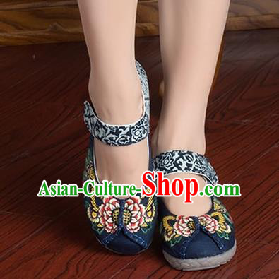 Traditional Chinese Shoes, China Handmade Linen Embroidered Peony Navy Shoes, Ancient Princess Cloth Shoes for Women