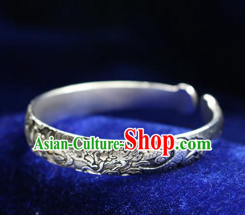 Traditional Chinese Miao Nationality Crafts Jewelry Accessory Bangle, Hmong Handmade Miao Silver Dragon-Phoenix Bracelet, Miao Ethnic Minority Silver Bracelet Accessories for Women